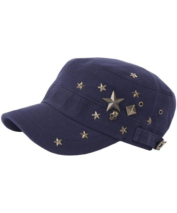 A173 Skull Devil Star Metal Stud Fashion Punk Club Army Cap Cadet ... 31f0812a0412