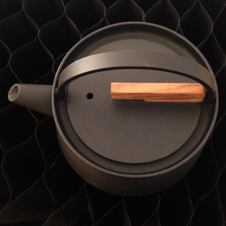 Tetsubib-cast iron kettle by Makoto Koizumi. With teak wood knob.