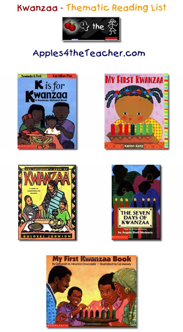 Suggested thematic reading list for Kwanzaa - Kwanzaa books for kids.  http://www.apples4theteacher.com/holidays/kwanzaa/kids-books/
