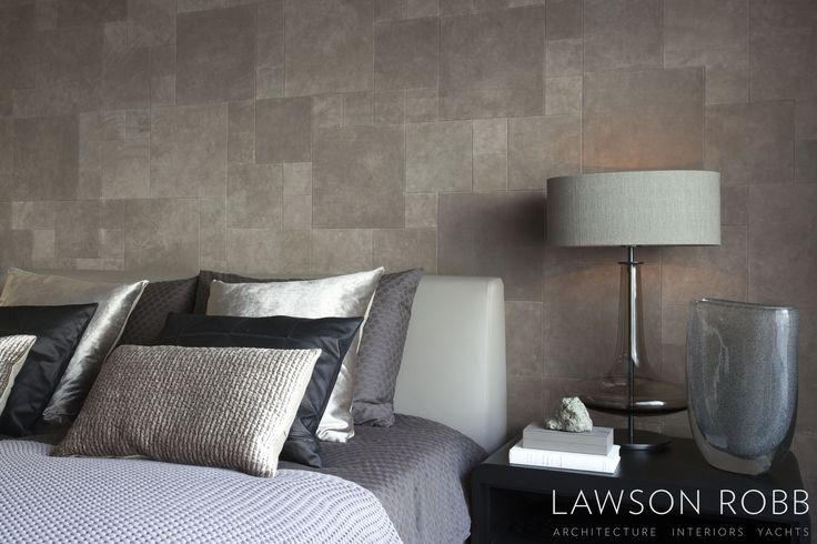 sublime contemporary bedroom colour palette - shimmering silks in nude, charcoal and mulberry - Mayfair - Lawson Robb Associates www.lawsonrobb.com  Architecture . Interiors . Yachts