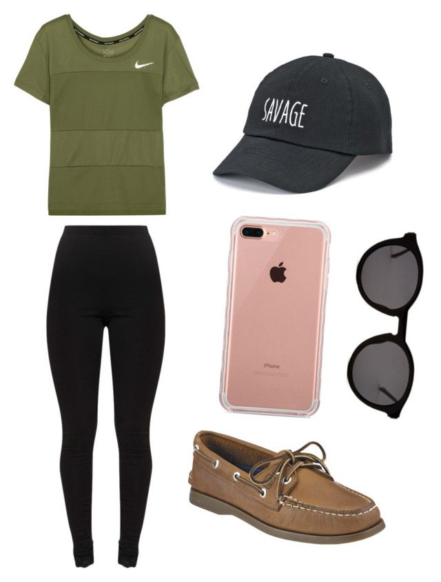 """preppy back to school outfit"" by findamorsay on Polyvore featuring NIKE, Sperry, Belkin, Thierry Lasry and SO"