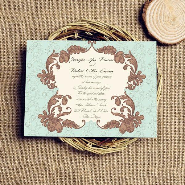 Vintage Vine Wedding Invitation IWI169