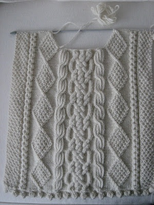 """Aran Sweater designed by Willow. She says, """"I finished knitting the back, front…"""