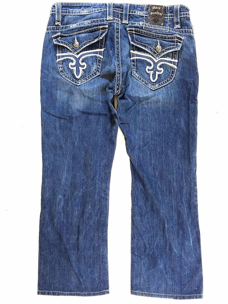 Rock Revival Paul Straight Distressed Dark Wash Jeans - Size 38 x 30…