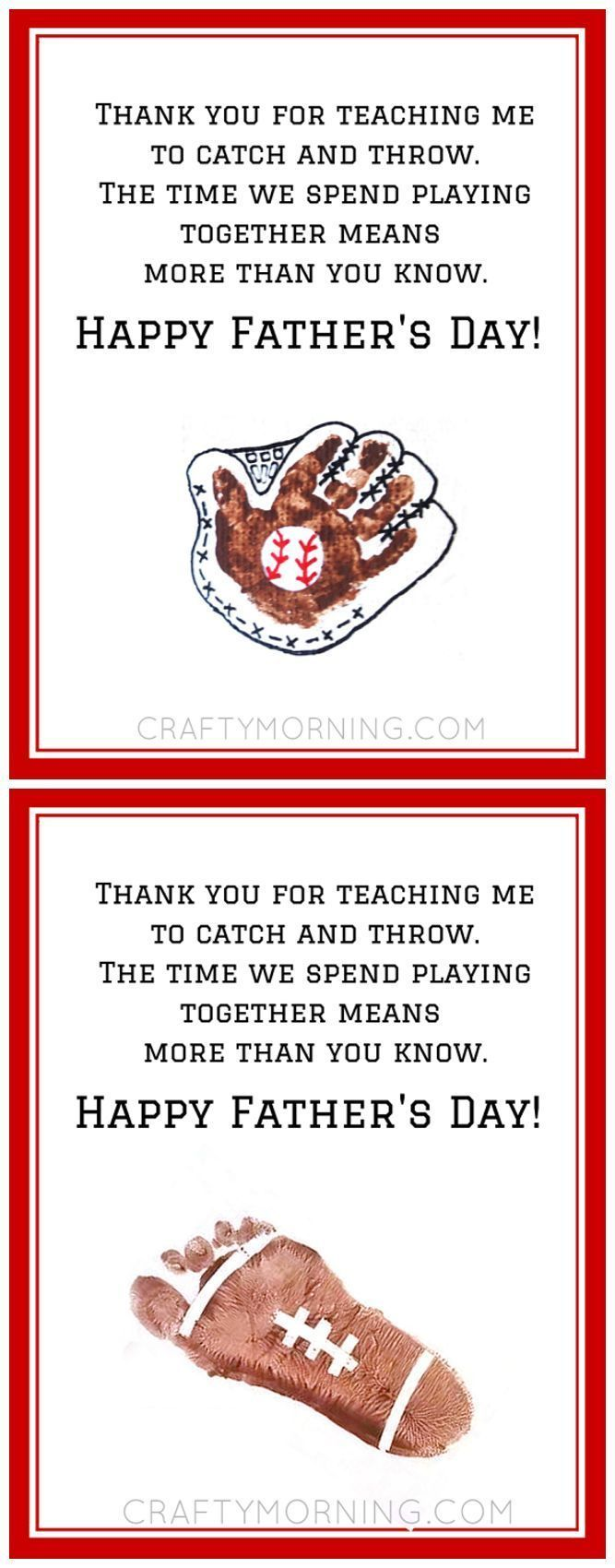 Handprint Baseball Father S Day Poem Printable Fathers