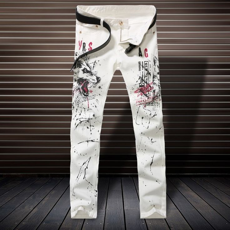 29.68$  Watch here  - White Skinny Jeans Men Fashion Wolf 3D Printed Animal Painted Stretch Denim Jeans Men Slim Fit Jeans Pants Trousers Plus Size