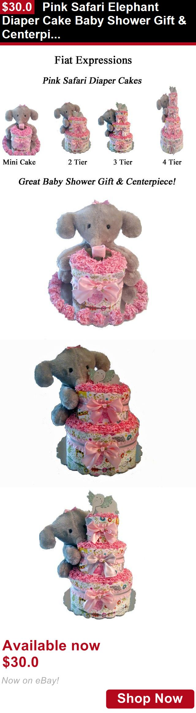 Baby Diaper Cakes: Pink Safari Elephant Diaper Cake Baby Shower Gift And Centerpiece BUY IT NOW ONLY: $30.0