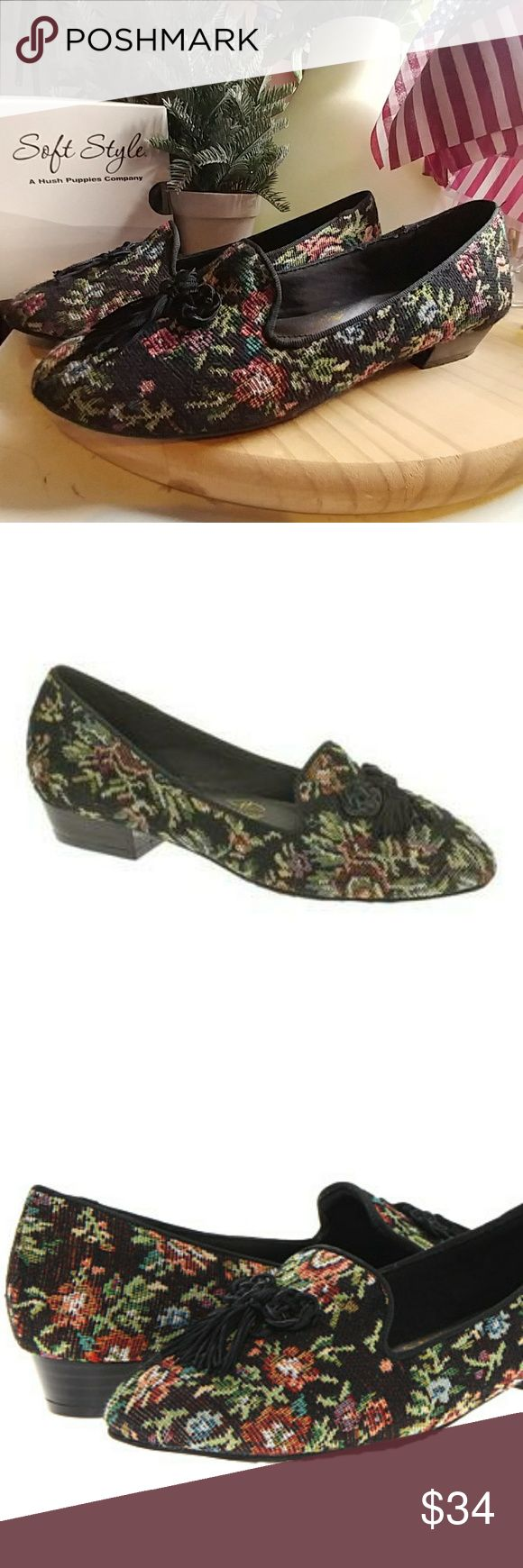 30% OFF ALL BUNDLES OF 2 OR  MORE! Open to offers~ Soft Style Hush Puppies Shayna flats Black tapestry cloth with red blue and green floral pattern and a tassel. very soft and comfortable insole. Worn once. Beautiful loafers!  FOR ALL MY LISTINGS: All my items are clean and typically in excellent, like new condition, unless otherwise stated. Color may appear slightly different due to computer picture resolution and individual monitor settings. All sales are final--no returns. Please ask…