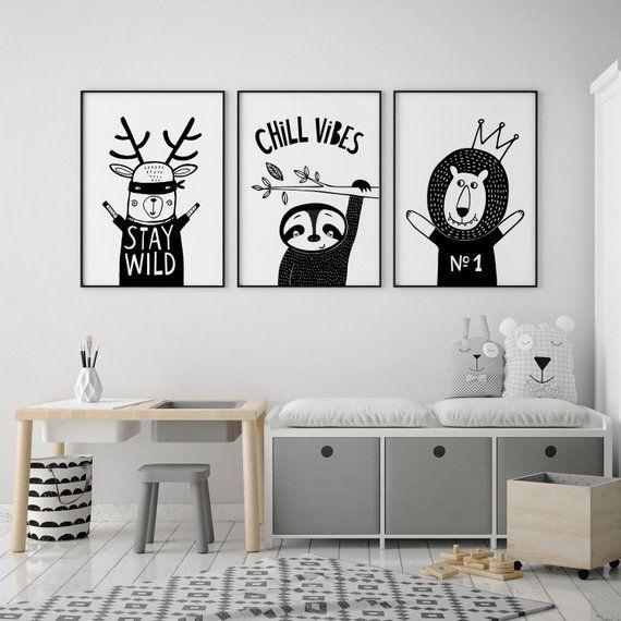 Wall Art Baby Bedroom Decor Monochrome Nursery Prints Pictures Boys Girls Set