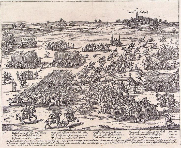 Het Spaanse leger verslaat het staatse bij Hardenberg. Maar de vijand komt te laat voor Zwolle dat vanaf dat moment altijd een Staats bolwerk blijft.
