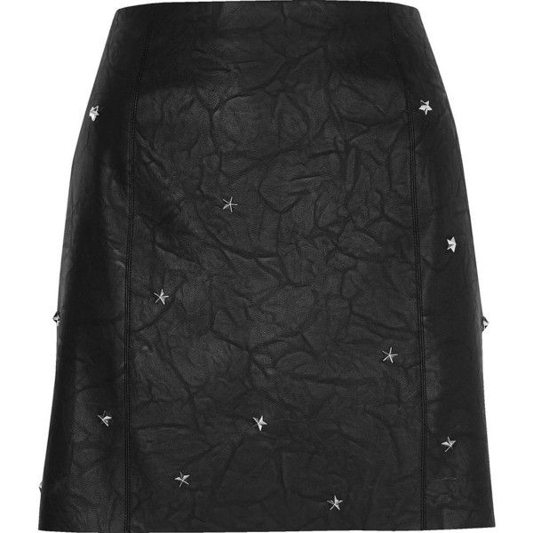 River Island Black faux leather studded mini skirt (€27) ❤ liked on Polyvore featuring skirts, mini skirts, black, sale, women, tall skirts, short skirts, river island, short mini skirts and vegan leather mini skirt