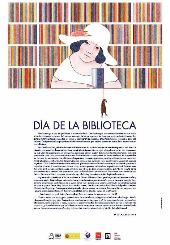 Cartel del Día de la Biblioteca 2016. Ilustrado por Elena Odriozola.