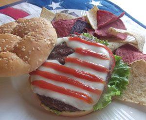 Serve this simple patriotic burger (from Celebrating Holidays)  #budhagirl #contest #pinittowinit