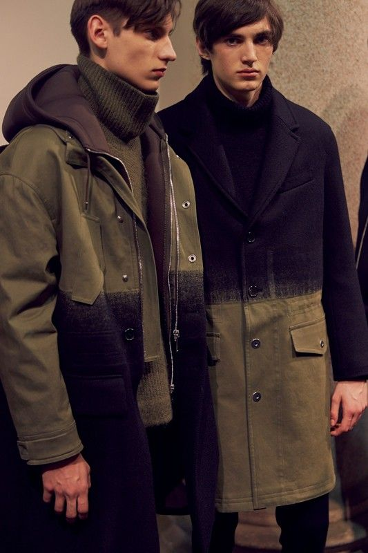 Ombre coats backstage at Neil Barret AW15 Milan. See more here: http://www.dazeddigital.com/fashion/article/23257/1/neil-barrett-aw15