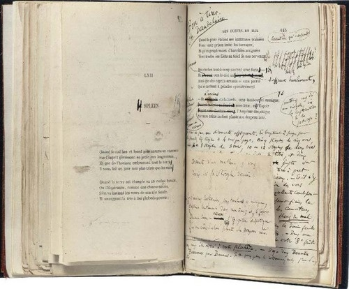 Photo of Charles Baudelaire's copy of the French 1st ed of Les Fleurs du Mal turned to the poem Spleen
