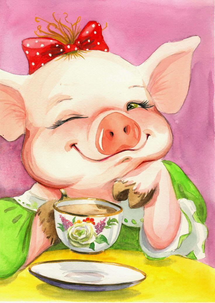 День прикольные, открытка со свинкой