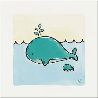 Schilderij kinderkamer walvis