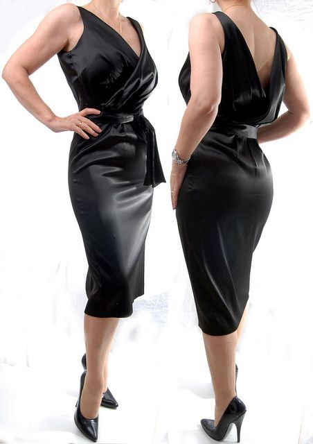 black satin skirt | black satin pencil dress | Flickr - Photo ...