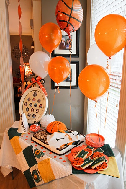 Cute decorations and cookies basketball cake pinterest for Basketball craft party ideas