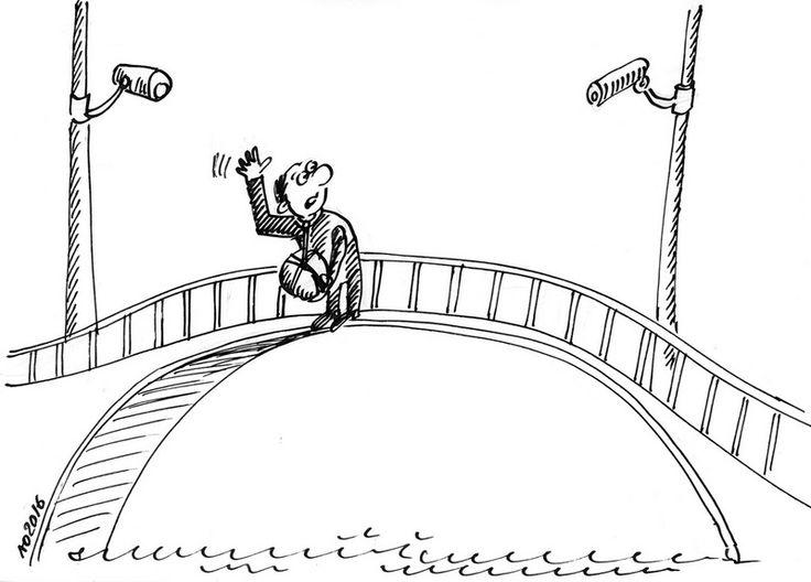 На житомирському підвісному мосту встановили дві камери відеоспостереження.  На житомирському підвісному мосту, який має погану славу через низку самогубств на ньому, встановили дві камери відеоспостереження. #WZ #Львів #Lviv #Новини #Карикатура
