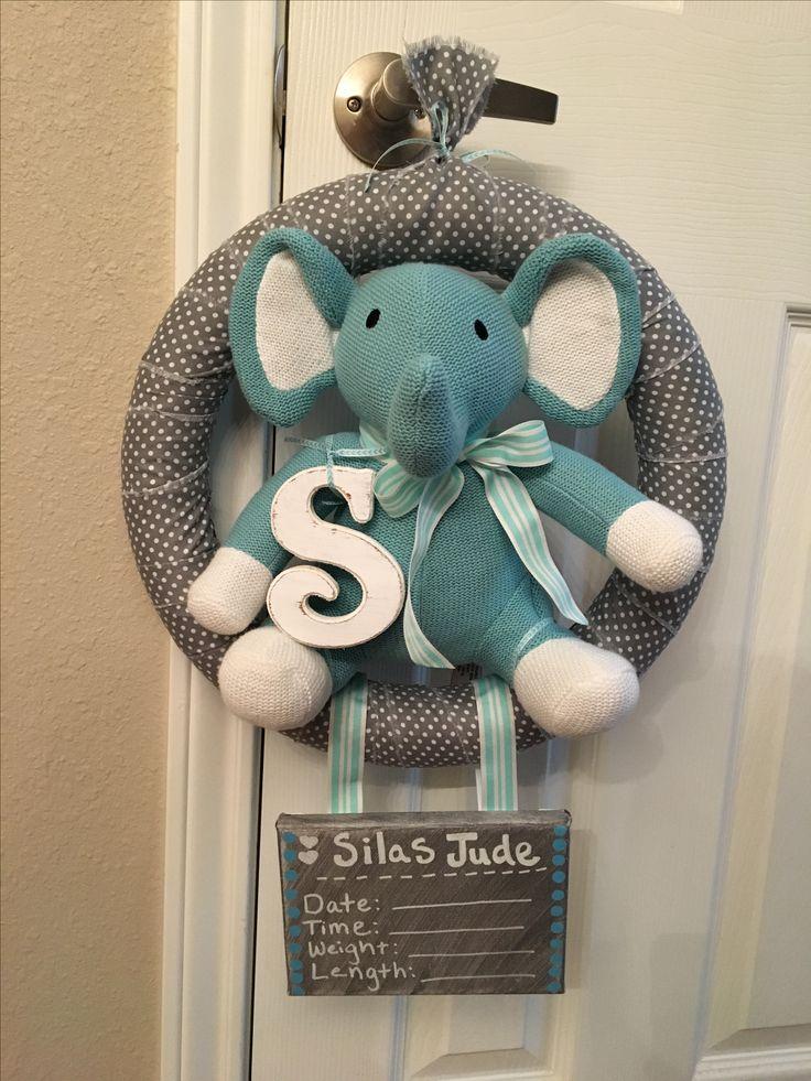 Perfect Baby Door Hanger. Hospital Door Hanger For A Boy! Elephant Hospital Door  Hanger!
