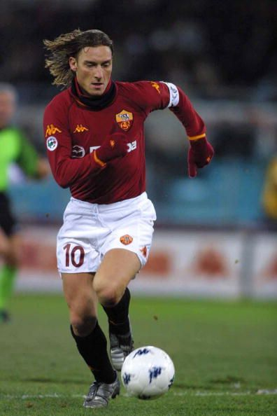 Francesco Totti of Roma in action during the Serie A match between Roma and Bologna played at the Olympic stadium Roma Italy on February 1 2003