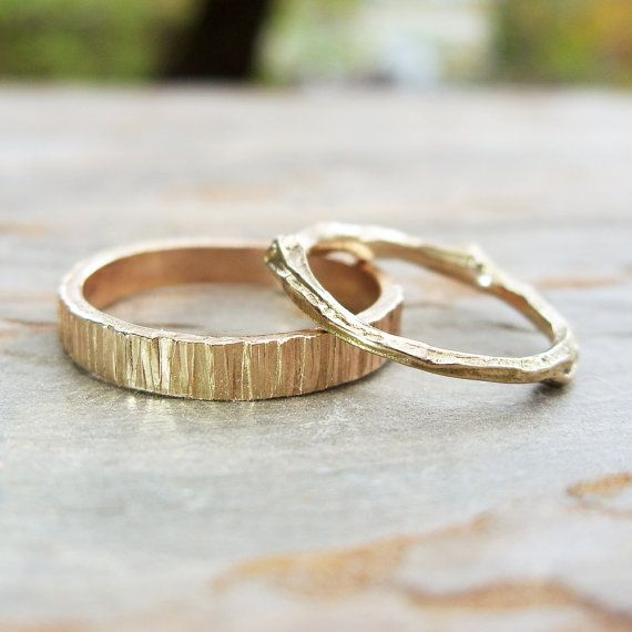 Solid 14k Matching Tree Bark / Twig Wedding Band Set in Wood Grain Yellow Gold - Flat, Rectangular and Branch Commitment Rings  These simple but striking nature-inspired rings make a lovely wedding or commitment set.  SPECS The TWIG RING is cast from a natural twig into solid 14k yellow gold. It measures 1.4mm - 2.5mm thick at various points and weighs 1.8 grams in a size 7.5 (final weight varies with finger size).  The WOOD GRAIN BAND measures just over 3mm wide and 1.4mm thick. Ring we...