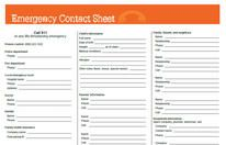 Printable emergency numbers and information for babysitter