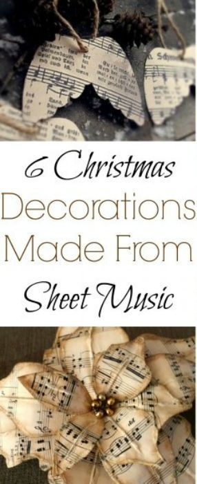 Sheet music crafts using old Sheet music paper for Christmas decorations Christmas crafts Shabby Chic Vintage Christmas style DIY Christmas Tree Ornaments.