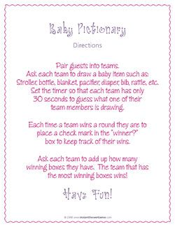 baby shower pictionary instant shower games