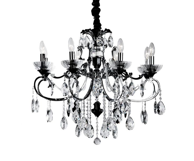 Потолочная подвесная черная металлическая люстра с подвесками на 8 ламп, цоколь Е14 (Deco-Home) купить в интернет-магазине The Furnish