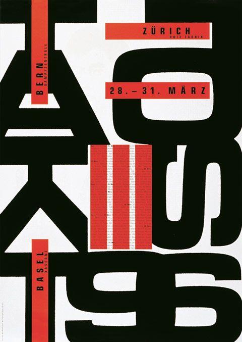 Ruedi Wyss, Taktlos 96 – Bern – Basel – Zürich, poster, 1996, Museum für Gestaltung Zürich, photo © ZHdK
