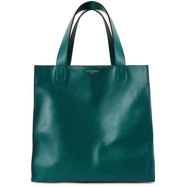 J&M DAVIDSON Belle Medium Teal Leather Tote ($925) ❤ liked on Polyvore featuring bags, handbags, tote bags, leather tote, green tote bag, green tote, leather handbags and genuine leather handbags