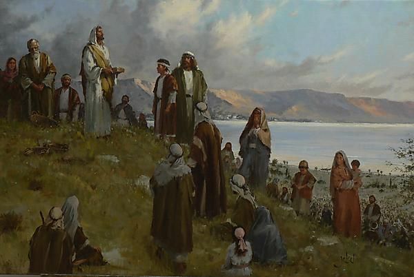 """The Feeding of the 5,000 - Brian Jekel: """"Jesus is blessing the lunch given to him from the young lad. How to capture the feeling and look of 5000 people in one painting was the challenge to this piece."""""""