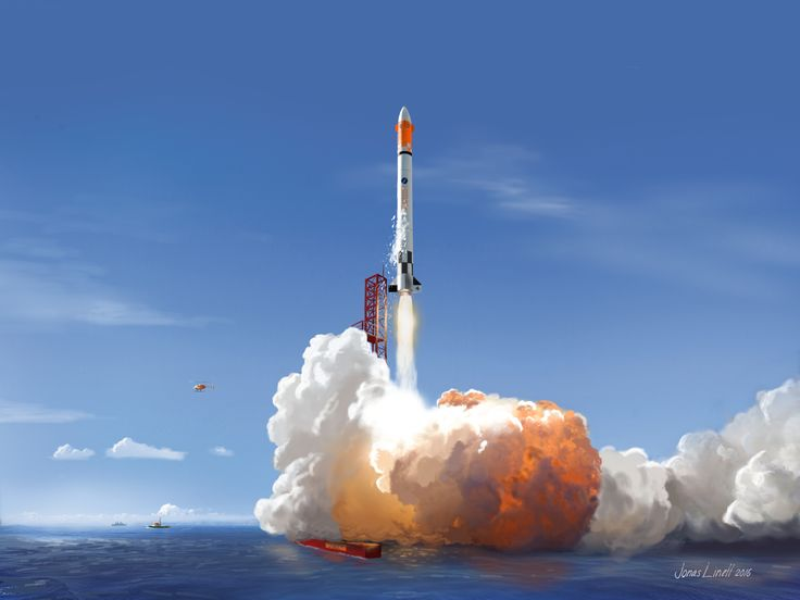 How the launch of Copenhagen Suborbitals' manned Spica rocket could look like. Illustration by Jonas Linell. Fingerpainted in Sketchbook on iPad