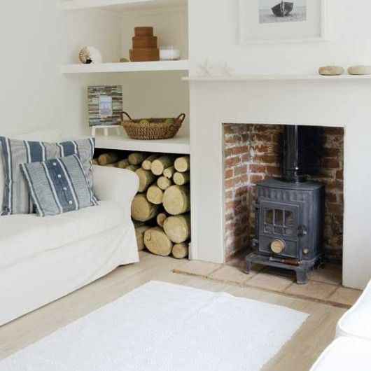 Cosy log burner brick interior plain white surround and mantle few tiles as a hearth for Living room ideas with stoves