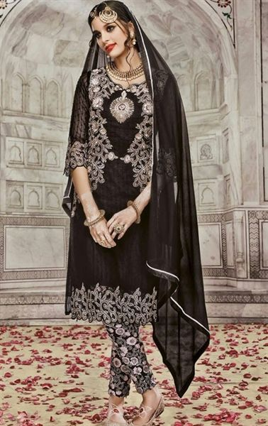 Incredible Black Indian Churidar Salwar Kameez