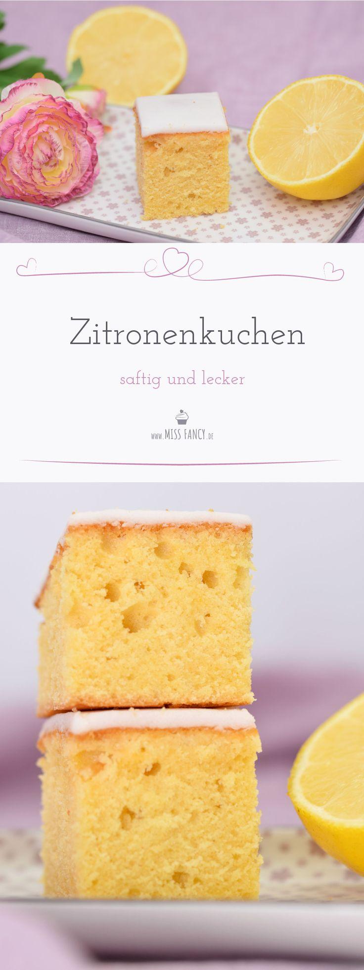 Saftiger und fluffiger Zitronenkuchen. Ein Grundrezept aus Rührteig mit frischer Bio Zitrone, herrlicher Geschmack. Rezept von Missfancy.de