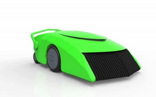 EcoMow Grass-Powered Robotic - EcoMow is a small self-fueled mower and grass pellet harvester. It uses the grassy biomass that it harvests as fuel.