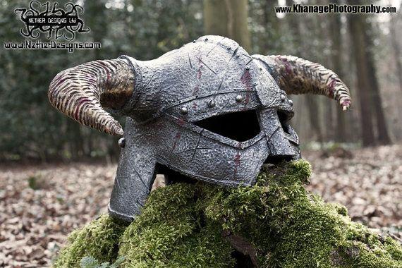 horned helmet prop display costume larp skyrim by