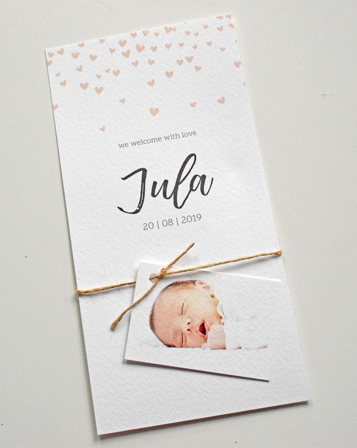 Geboortekaartje meisje hartjes regen met los fotolabeltje. geboortekaartje | birthannouncement | babykaart | geboortekaart | baby www.fientje-en-co.nl.