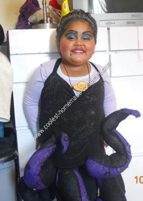 Homemade Ursula Halloween Costume Idea: This great homemade Ursula Halloween costume idea started when I couldn't find a costume I liked for my daughter. So I thought about Ursula the sea witch,