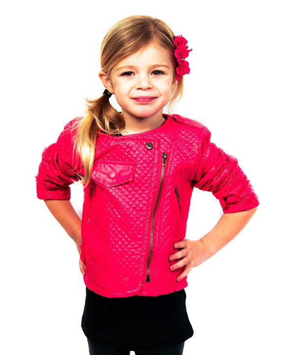 Micro Me Hot Pink Faux Leather Quilted Jacket - Toddler & Girls ...