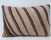 HAND WOVEN cream pillow case striped pillow cover black pillow sham cream lumbar pillow cream cushion cover cream striped kilim pillow 19031