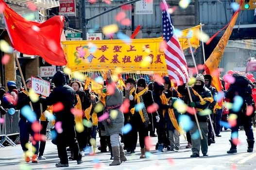 Some 10,000 march in the annual Lunar New Year Parade in Flushing Queens, the fastest growing Chinatown outside of Asia.
