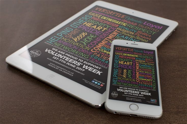 VOLUNTEERS' WEEK 2017 –  Online marketing poster or flyer for Volunteers' Week 2017 presented on iPad and iPhone. #digitalmarketing #onlinemarketing  #imagepost #digitalposter #volunteersweek #volunteer #iPad #iPhone6