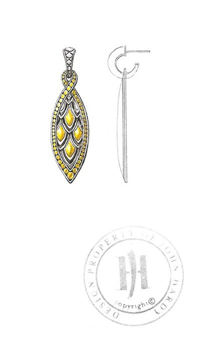 John Hardy, NAGA COLLECTION Medium Marquise Drop Earrings Sketch.
