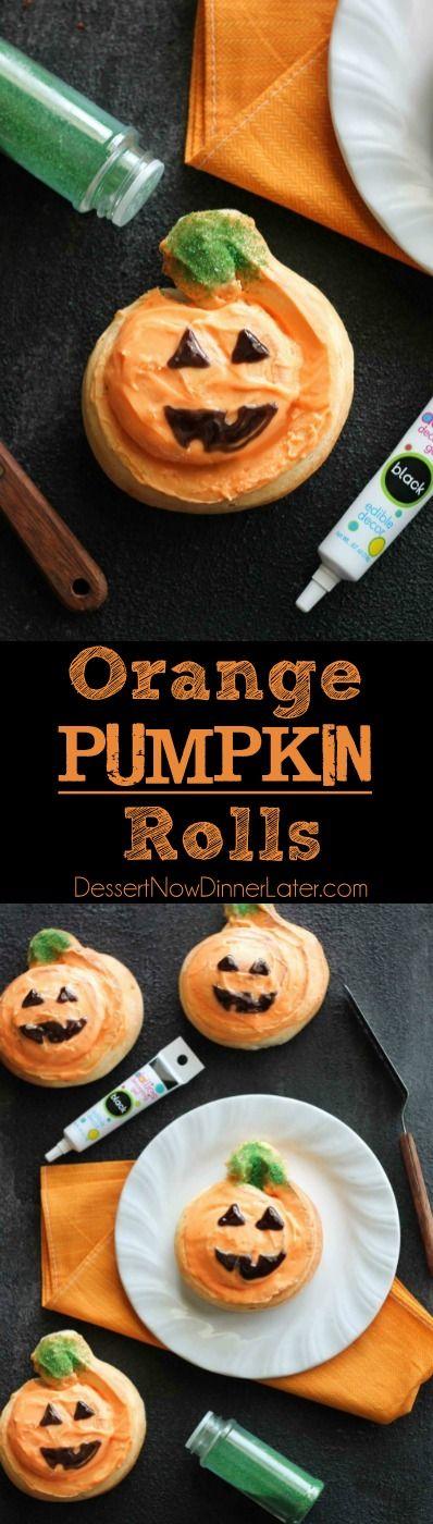 Orange Pumpkin Rolls - Pumpkin shaped orange rolls are decorated to look like jack-o-lanterns for Halloween. An easy treat the kids can make!