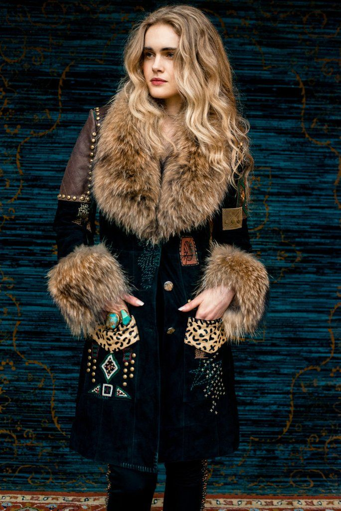 Tribal Shuffle Jacket | Les Gauchos Collection by Double D Ranch    subtle lamb suede with pigment dyed raccoon fur trim  fur trim is removable hand embroidery and beading  Delivery:  Late October