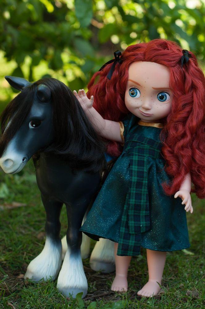 "16"" Disney Store Animator Toddler MERIDA Doll--Adorable expression! Plus ANGUS!"